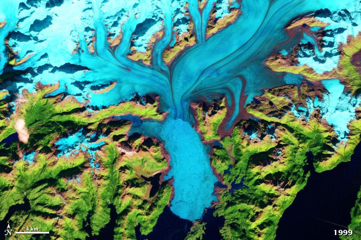 satellite image of Columbia glacier in Alaska